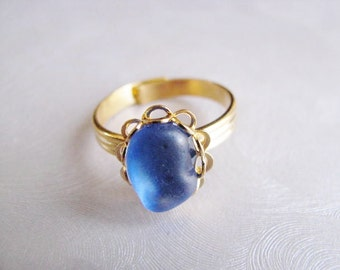 Beach Glass Ring - Cornflower Blue - Sea Glass Ring - Beach Glass Jewelry