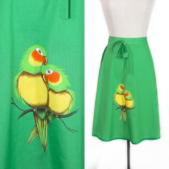 TWENTY DOLLAR SALE /////////// Vintage 1970's Skirt : Green Painted Parrots Love Birds Wrap Skirt - sz M