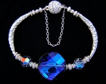 Bermuda Blue Swarovski Crystal Twist Bead Sterling Silver Noodle Tube Bracelet Magnetic Clasp