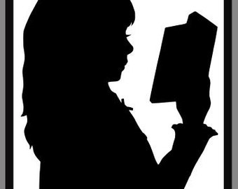 Reading Child, Single Silhouette, handcut