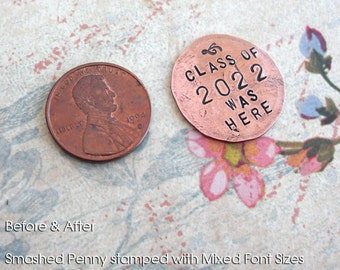 Penny Charm for your Pocket .. Includes 6 Words. A touch piece .. hammered penny with custom phrase, date, name stamped .. Teacher's Gift