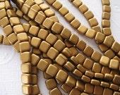 Czech 2 Hole, 6mm Tile Beads, one string of 25 beads - Matte Metallic Goldenrod