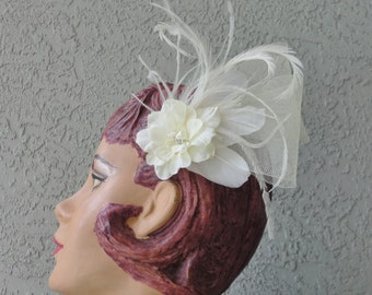 Wedding Bridal Ivory Horsehair Ribbon Feather And Silk Flower Hair Piece