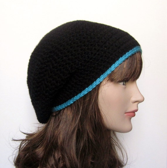 black slouch beanie womens slouchy crochet hat with