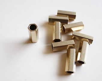 20 pieces of  newly made solid raw brass long hexagon tube bead 10 x 4 mm with hole through