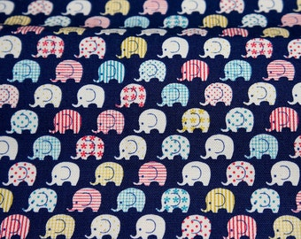 Tiny Elephant Print Japanese fabric Half meter  (n415)