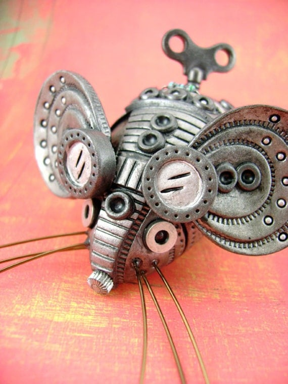 Squ33x No.2 - Polymer Clay Industrial Steampunk Mouse - Figurine