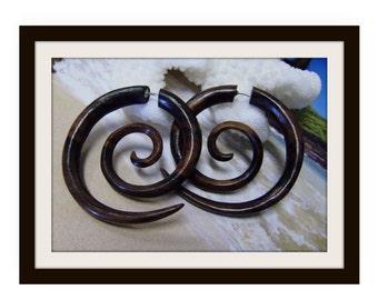 Fake Gauges earrings,tribal style,hand carved, wood Earrings ,Tribal Expander Split,organic ,organic