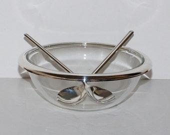 Modernist Italy Glass Silver Salad Bowl & Servers
