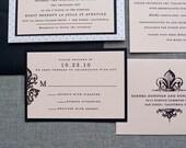Blush Pink Vintage Wedding Invitation, Pocket Wedding Invitation, Fleur De Lis Wedding Invitation, Pink Invitation,   - Sandra and Donald
