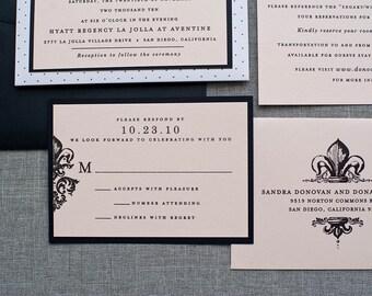 Pocket Wedding Invitation - Fleur De Lis Blush Pink Vintage Southern Wedding Invite | Sandra & Donald