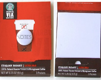 STARBUCKS VIA MATCHBOOK upcycled notepads with Flair Button or badge