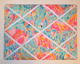 New memo board made with Lilly Pulitzer Peel N Eat fabric