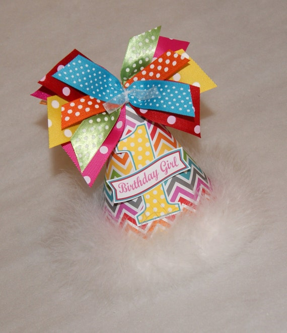 LAST ONE - SALE!!  Rainbow Chevron and Polka Dot Party Hat - Rainbow Birthday Party Hat