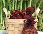 Red Clover Tea Handmade Sachet - herbal, burgundy organza bag, natural, scented, potpourri, fragrance, aromatherapy, wedding, shower favor