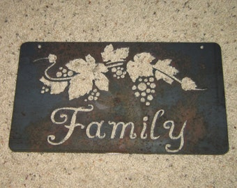 Family-Metal art-Grapevine Art-Home Decor Art