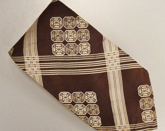 Designer KYOTO  Neck TIE SILK Tweel Stripes diamond squares  Design  1980s  Dead Stock  55 x 4 in