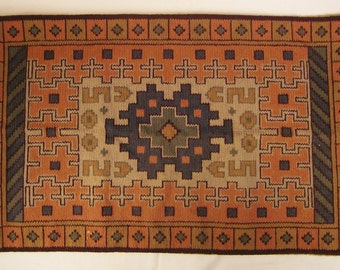 Arts and Crafts SOUMAK KILIM RUG  Embroidery Textile Panel 28 x 17 Tribal