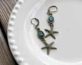 Ocean Blue - Brass Starfish Earrings