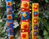 Outdoor Decor Garden Art - Red Blue Yellow Orange Fused Glass Stake