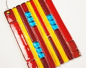 Suncatcher Red Yellow Turquoise Blue, Home Decor, Garden Art, Outdoor Decor, Fused Glass