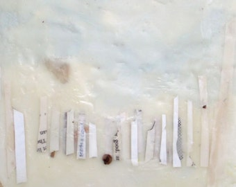 Beach Encaustic Painting, mixed media encaustic, beach painting, fire island painting