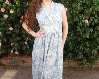 Vintage 60's Maxi Day Dress. Light Blue Floral Print Lounge Dress