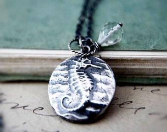 Sea Horse Necklace, Sea Horse Pendant, Nautical Pendant, Nautical Necklace, Gemstone Necklace, Sterling Silver, Green Amethyst, Ocean