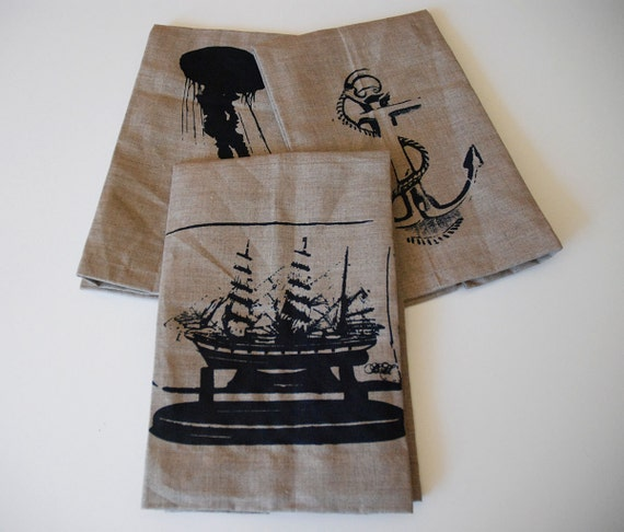 Nautical Guest Towels: Items Similar To Shipmate Screen Printed Linen Hand Towels