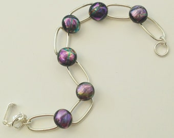 Dichroic Glass Bracelet // black with pink purple and blue // fused glass bracelet // shimmery Dichro bracelet
