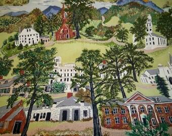 SALE! Vintage 1950s Folk Art Barkcloth Fabric Grandma Moses Williamstown