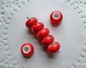 Bright RED ORANGE Beads/ACRYLIC Beads/Large Hole Beads/Donut Beads/Orange Acrylic Beads/14mm Beads/Glossy Swirl Round Beads