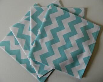 Aqua Chevron Cotton Napkins. Set of 4 Designer Fabric. Year 'Round Every Day Use. Great Bridal Shower or Birthday Gift