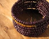 Wide Beaded Purple Adjustable Memory Wire Cuff Bracelet: Segment