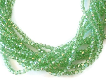 98 Glass Beads, Light Green, Jewelry Supply, AB Color Plated, Faceted Round