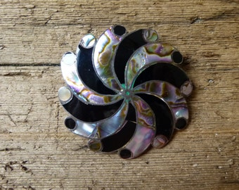 Narvaez Sterling Silver and Abalone Pinwheel Brooch or Pendant, Taxco Mexico, 925 Pre Eagle