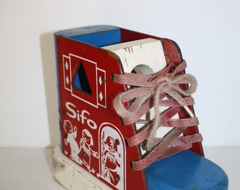 SALE Vintage 1960s SIFO Lace Tie, Solid Wooden, Wood Shoe, Educational Toy ,toy Lace & sort Shaper Wooden shoe