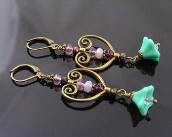 Heart Chandelier Earrings, Ornate Dangle Earrings, Beaded Czech Flower Earrings, Heart Earrings, Romantic Earrings, Beaded Earrings, E1612