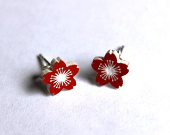 Cherry Blossom Earrings - laser cut acrylic flower Japanese style surgical steel studs