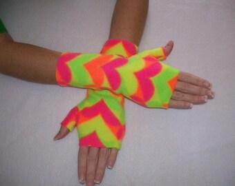 Fleece Fingerless Gloves / Retro 80'S Bright Neon Heart Print / Your Choice of Size