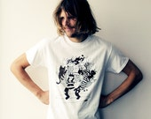 Screen printed adults T-shirt - surfing cats