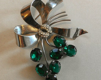 Large 1940s Sterling Brooch Ribbon Motif with Green Crystal Stones