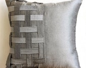 Decorative Throw Pillow Covers Couch Pillow Sofa 20x20 Silver Gray Silk Pillow Cover with Basket Weave Grey Silver Bricks Home Living Decor