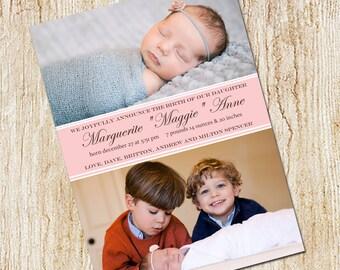 Photo Birth announcement Card - Digital file- Girl's Birth Announcement