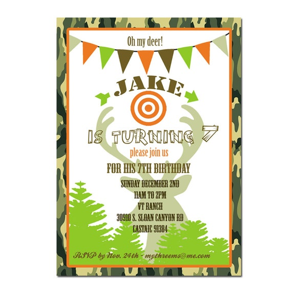 Hunting Party Invitation Hunting Birthday By Peachymommy On Etsy