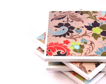 Tile Coaster, Colorful Flowers, Set of 4 Coasters