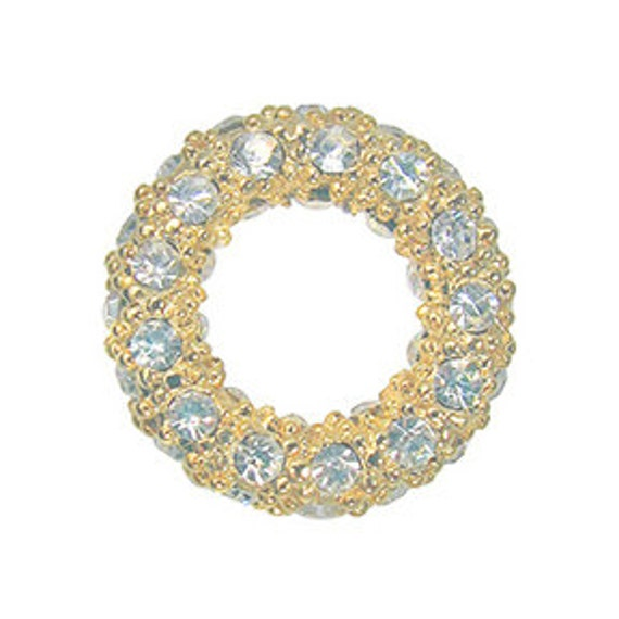 On Sale - 14mm pave crystal ring, Gold with crystals (1)