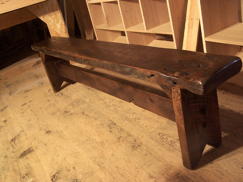 Thick Plank Farm Bench From Antique Reclaimed Barn Wood