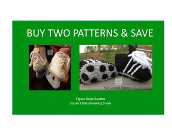 Instant Download - Buy Figure Skates - Soccer Cleats PDF Crochet Patterns together and Save