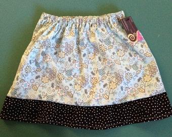 Girls spring flowers with tiny dot trim skirt. Sz 6/7 Ready to Ship